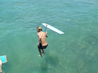 Jumping with his Boogie Board