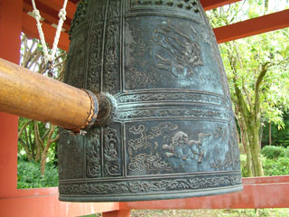 Bell at Byodo-in Temple. Ring the bell to bring good fortune.
