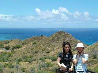 Visitors pose at Diamond Head