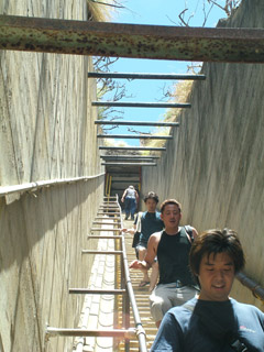Visitors walked down on the 2nd sets of stairs on Diamond Head Trail