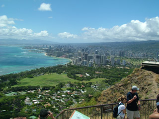 View of Waikiki and beyond from Diamond Head Summit