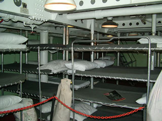 Sleeping quarter for crewmen on USS Missouri