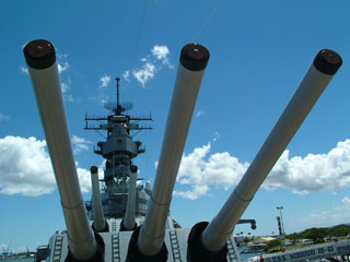 Looking thru the forward turrets of USS Missouri