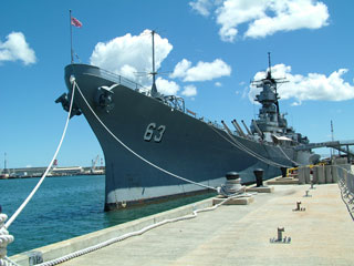 USS Missouri in docked at Ford Island, Pearl Harbor