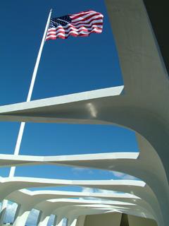 Flag above Memorial.