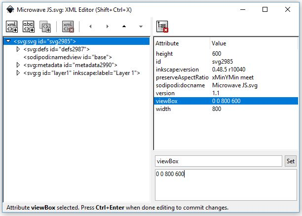 Image of the XML editor in Inkscape showing the extra lines of code needed to implement scaling within an HTML page.